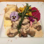 Plat de ris de veau à la dijonaise avec légume et cheddar